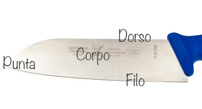 le parti della lama di un coltello